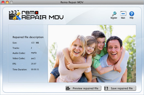 MOV repair  - Preview Window